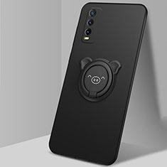 Silikon Hülle Handyhülle Ultra Dünn Schutzhülle Tasche Flexible mit Magnetisch Fingerring Ständer A02 für Vivo Y11s Schwarz