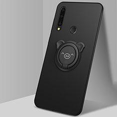 Silikon Hülle Handyhülle Ultra Dünn Schutzhülle Tasche Flexible mit Magnetisch Fingerring Ständer A03 für Huawei Enjoy 10 Plus Schwarz