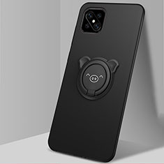 Silikon Hülle Handyhülle Ultra Dünn Schutzhülle Tasche Flexible mit Magnetisch Fingerring Ständer A03 für Oppo A92s 5G Schwarz