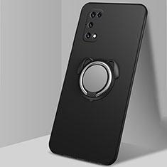 Silikon Hülle Handyhülle Ultra Dünn Schutzhülle Tasche Flexible mit Magnetisch Fingerring Ständer A03 für Oppo K7x 5G Schwarz