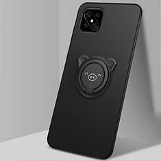 Silikon Hülle Handyhülle Ultra Dünn Schutzhülle Tasche Flexible mit Magnetisch Fingerring Ständer A03 für Oppo Reno4 Z 5G Schwarz