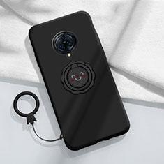 Silikon Hülle Handyhülle Ultra Dünn Schutzhülle Tasche Flexible mit Magnetisch Fingerring Ständer A04 für Vivo Nex 3 Schwarz