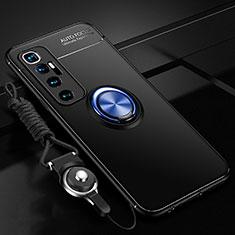 Silikon Hülle Handyhülle Ultra Dünn Schutzhülle Tasche Flexible mit Magnetisch Fingerring Ständer A04 für Xiaomi Mi 10 Ultra Blau und Schwarz