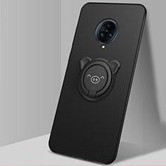Silikon Hülle Handyhülle Ultra Dünn Schutzhülle Tasche Flexible mit Magnetisch Fingerring Ständer A05 für Vivo Nex 3 Schwarz
