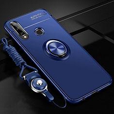 Silikon Hülle Handyhülle Ultra Dünn Schutzhülle Tasche Flexible mit Magnetisch Fingerring Ständer für Huawei Enjoy 10 Plus Blau