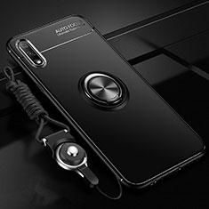 Silikon Hülle Handyhülle Ultra Dünn Schutzhülle Tasche Flexible mit Magnetisch Fingerring Ständer für Huawei Enjoy 10 Schwarz