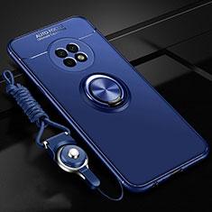 Silikon Hülle Handyhülle Ultra Dünn Schutzhülle Tasche Flexible mit Magnetisch Fingerring Ständer für Huawei Enjoy 20 Plus 5G Blau