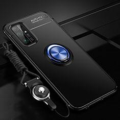 Silikon Hülle Handyhülle Ultra Dünn Schutzhülle Tasche Flexible mit Magnetisch Fingerring Ständer für Huawei Honor 30 Blau und Schwarz