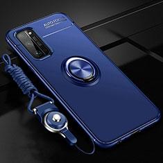 Silikon Hülle Handyhülle Ultra Dünn Schutzhülle Tasche Flexible mit Magnetisch Fingerring Ständer für Huawei Honor 30 Pro Blau