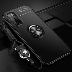 Silikon Hülle Handyhülle Ultra Dünn Schutzhülle Tasche Flexible mit Magnetisch Fingerring Ständer für Huawei Honor 30 Pro Schwarz