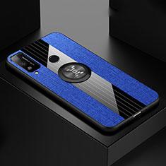 Silikon Hülle Handyhülle Ultra Dünn Schutzhülle Tasche Flexible mit Magnetisch Fingerring Ständer für Huawei Honor Play4T Blau