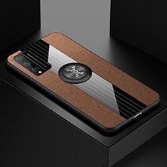 Silikon Hülle Handyhülle Ultra Dünn Schutzhülle Tasche Flexible mit Magnetisch Fingerring Ständer für Huawei Honor Play4T Pro Braun