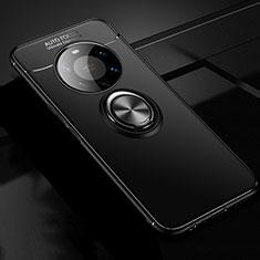 Silikon Hülle Handyhülle Ultra Dünn Schutzhülle Tasche Flexible mit Magnetisch Fingerring Ständer für Huawei Mate 40 Pro+ Plus Schwarz