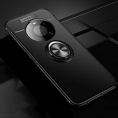 Silikon Hülle Handyhülle Ultra Dünn Schutzhülle Tasche Flexible mit Magnetisch Fingerring Ständer für Huawei Mate 40 Schwarz