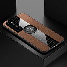 Silikon Hülle Handyhülle Ultra Dünn Schutzhülle Tasche Flexible mit Magnetisch Fingerring Ständer für Huawei Nova 7 5G Braun