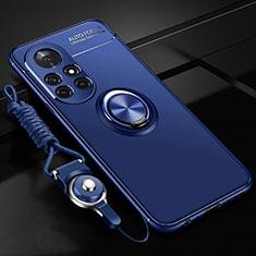 Silikon Hülle Handyhülle Ultra Dünn Schutzhülle Tasche Flexible mit Magnetisch Fingerring Ständer für Huawei Nova 8 Pro 5G Blau