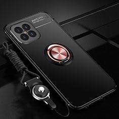 Silikon Hülle Handyhülle Ultra Dünn Schutzhülle Tasche Flexible mit Magnetisch Fingerring Ständer für Huawei Nova 8 SE 5G Gold und Schwarz
