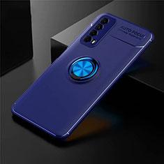 Silikon Hülle Handyhülle Ultra Dünn Schutzhülle Tasche Flexible mit Magnetisch Fingerring Ständer für Huawei Y7a Blau