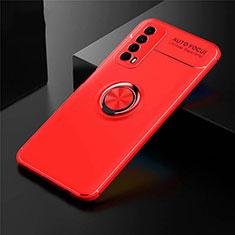 Silikon Hülle Handyhülle Ultra Dünn Schutzhülle Tasche Flexible mit Magnetisch Fingerring Ständer für Huawei Y7a Rot
