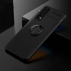 Silikon Hülle Handyhülle Ultra Dünn Schutzhülle Tasche Flexible mit Magnetisch Fingerring Ständer für Huawei Y7a Schwarz