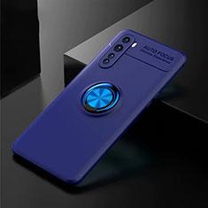 Silikon Hülle Handyhülle Ultra Dünn Schutzhülle Tasche Flexible mit Magnetisch Fingerring Ständer für OnePlus Nord Blau