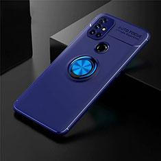 Silikon Hülle Handyhülle Ultra Dünn Schutzhülle Tasche Flexible mit Magnetisch Fingerring Ständer für OnePlus Nord N10 5G Blau