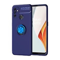 Silikon Hülle Handyhülle Ultra Dünn Schutzhülle Tasche Flexible mit Magnetisch Fingerring Ständer für OnePlus Nord N100 Blau