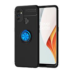 Silikon Hülle Handyhülle Ultra Dünn Schutzhülle Tasche Flexible mit Magnetisch Fingerring Ständer für OnePlus Nord N100 Blau und Schwarz