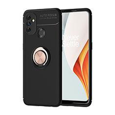 Silikon Hülle Handyhülle Ultra Dünn Schutzhülle Tasche Flexible mit Magnetisch Fingerring Ständer für OnePlus Nord N100 Gold und Schwarz