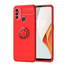 Silikon Hülle Handyhülle Ultra Dünn Schutzhülle Tasche Flexible mit Magnetisch Fingerring Ständer für OnePlus Nord N100 Rot