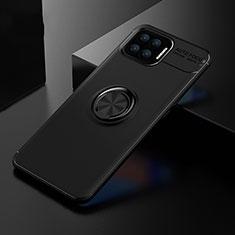 Silikon Hülle Handyhülle Ultra Dünn Schutzhülle Tasche Flexible mit Magnetisch Fingerring Ständer für Oppo A73 (2020) Schwarz