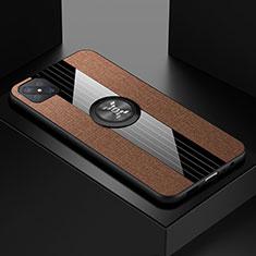 Silikon Hülle Handyhülle Ultra Dünn Schutzhülle Tasche Flexible mit Magnetisch Fingerring Ständer für Oppo A92s 5G Braun