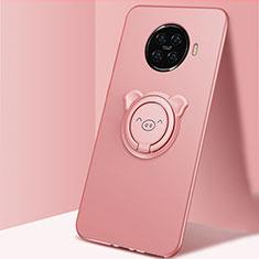 Silikon Hülle Handyhülle Ultra Dünn Schutzhülle Tasche Flexible mit Magnetisch Fingerring Ständer für Oppo Ace2 Rosa