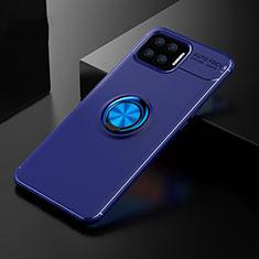 Silikon Hülle Handyhülle Ultra Dünn Schutzhülle Tasche Flexible mit Magnetisch Fingerring Ständer für Oppo F17 Blau