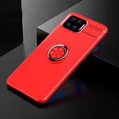Silikon Hülle Handyhülle Ultra Dünn Schutzhülle Tasche Flexible mit Magnetisch Fingerring Ständer für Oppo F17 Rot