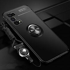 Silikon Hülle Handyhülle Ultra Dünn Schutzhülle Tasche Flexible mit Magnetisch Fingerring Ständer für Oppo K7x 5G Schwarz