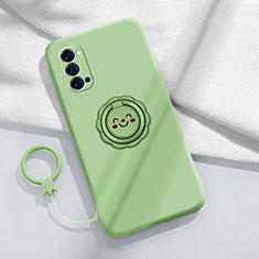Silikon Hülle Handyhülle Ultra Dünn Schutzhülle Tasche Flexible mit Magnetisch Fingerring Ständer für Oppo Reno4 5G Cyan