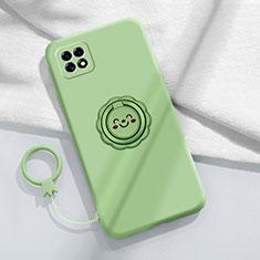 Silikon Hülle Handyhülle Ultra Dünn Schutzhülle Tasche Flexible mit Magnetisch Fingerring Ständer für Oppo Reno4 SE 5G Minzgrün