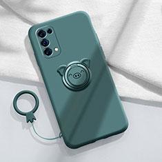 Silikon Hülle Handyhülle Ultra Dünn Schutzhülle Tasche Flexible mit Magnetisch Fingerring Ständer für Oppo Reno5 Pro 5G Nachtgrün