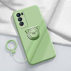 Silikon Hülle Handyhülle Ultra Dünn Schutzhülle Tasche Flexible mit Magnetisch Fingerring Ständer für Oppo Reno5 Pro+ Plus 5G Minzgrün