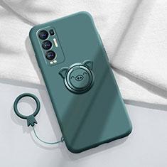 Silikon Hülle Handyhülle Ultra Dünn Schutzhülle Tasche Flexible mit Magnetisch Fingerring Ständer für Oppo Reno5 Pro+ Plus 5G Nachtgrün