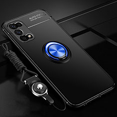 Silikon Hülle Handyhülle Ultra Dünn Schutzhülle Tasche Flexible mit Magnetisch Fingerring Ständer für Realme V5 5G Blau und Schwarz