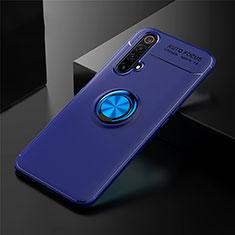 Silikon Hülle Handyhülle Ultra Dünn Schutzhülle Tasche Flexible mit Magnetisch Fingerring Ständer für Realme X3 Blau