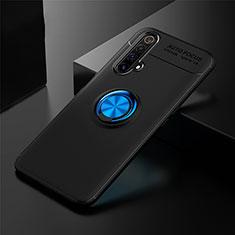 Silikon Hülle Handyhülle Ultra Dünn Schutzhülle Tasche Flexible mit Magnetisch Fingerring Ständer für Realme X3 Blau und Schwarz