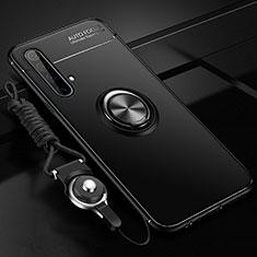 Silikon Hülle Handyhülle Ultra Dünn Schutzhülle Tasche Flexible mit Magnetisch Fingerring Ständer für Realme X3 SuperZoom Schwarz