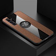 Silikon Hülle Handyhülle Ultra Dünn Schutzhülle Tasche Flexible mit Magnetisch Fingerring Ständer für Realme X50 Pro 5G Braun