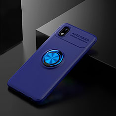 Silikon Hülle Handyhülle Ultra Dünn Schutzhülle Tasche Flexible mit Magnetisch Fingerring Ständer für Samsung Galaxy A01 Core Blau
