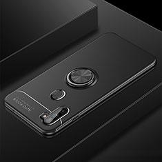 Silikon Hülle Handyhülle Ultra Dünn Schutzhülle Tasche Flexible mit Magnetisch Fingerring Ständer für Samsung Galaxy A11 Schwarz