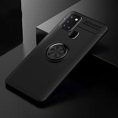Silikon Hülle Handyhülle Ultra Dünn Schutzhülle Tasche Flexible mit Magnetisch Fingerring Ständer für Samsung Galaxy A21s Schwarz