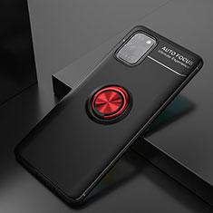 Silikon Hülle Handyhülle Ultra Dünn Schutzhülle Tasche Flexible mit Magnetisch Fingerring Ständer für Samsung Galaxy A31 Rot und Schwarz